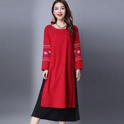 Salisha - Embroidered Mock Two-Piece Midi Dress