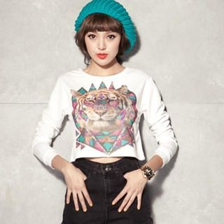 CUTIE FASHION - Long-Sleeve Printed Cropped T-Shirt