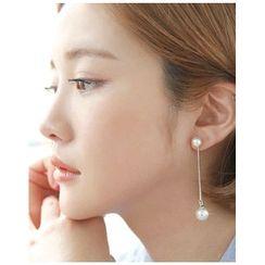 Miss21 Korea - Asymmetric Faux-Pearl Drop Earrings
