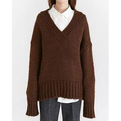 Someday, if - V-Neck Chunky-Knit Sweater