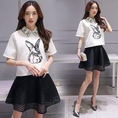 Ashlee - Set: Short-Sleeve Rabbit Top + Frilled Skirt
