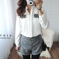 CYNTHIA - Set: Faux-Pocket Chiffon Blouse + Shorts