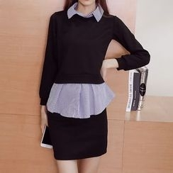 Cottony - Long-Sleeve Mock Two Piece Dress