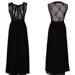 Yvette - Lace Panel Maxi Chiffon Dress