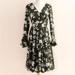 11.STREET - Floral Print V-Neck A-Line Dress