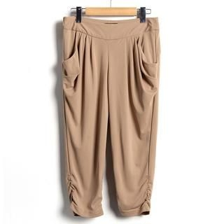 9mg - Draped-Pocket Ruched-Side Capri Pants