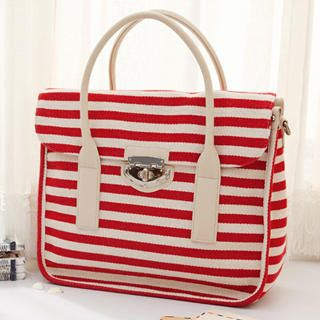 MBaoBao - Contrast-Trim Striped Tote