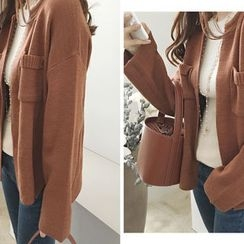 DAILY LOOK - Open-Front Pocket-Detail Cardigan