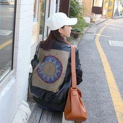 DABAGIRL - Print-Back Faux-Leather Zip Jacket