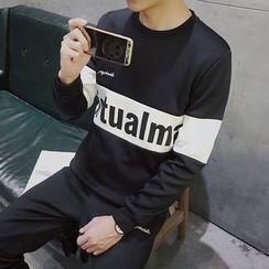 Danjieshi - Set: Lettering Sweatshirt + Sweatpants