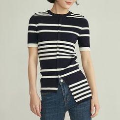 HORG - 條紋短袖針織上衣