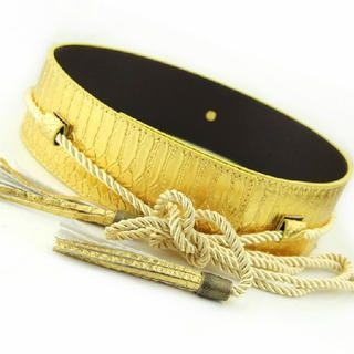 Cuteberry - Tasseled Croc-Grain Wide Belt