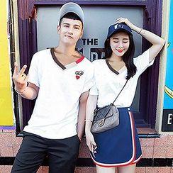 Azure - Couple Matching Embroidered Short Sleeve T-Shirt / T-Shirt + Skirt