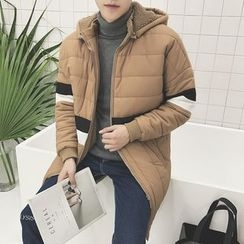 Danjieshi - Striped Hooded Padded Coat