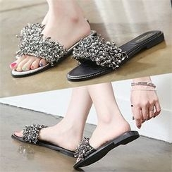 Reneve - Faux-Leather Beaded Mules