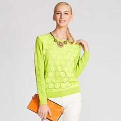 O.SA - Crochet-Front Open-Knit Top