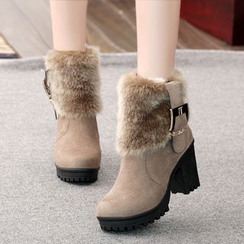 Abliz - Block Heel Furry Panel Short Boots