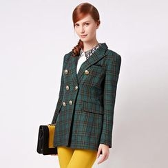 O.SA - Plaid Double-Breasted Blazer
