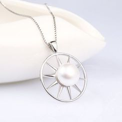 Zundiao - Sterling Silver Wheel Pendant with Real Pearl