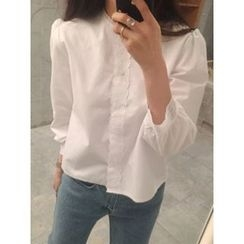 maybe-baby - Lace-Trim Collarless Blouse