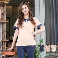 OrangeBear - Short-Sleeve Contrast-Collar Top