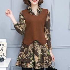 Cottony - Set: Floral Print Long Sleeve Dress + Knit Vest