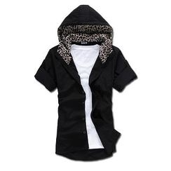 MR.PARK - Leopard Print-Detail Hooded Shirt