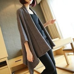 YIDIYU - Ribbed 3/4 Sleeve Long Cardigan