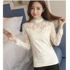 Dowisi - Stand Collar Embellished Lace Long-Sleeve Top