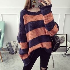 Qimi - Striped Loose Fit Sweater