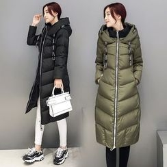Romantica - Drawstring Hooded Puffer Zip Coat
