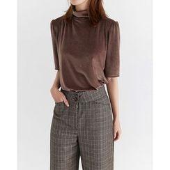 Someday, if - Mock-Neck Short-Sleeve Velvet Top