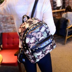 QeQ - Faux-Leather Printed Backpack