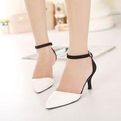 安若 - 尖頭踝帶高跟鞋