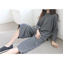 Hello sweety - Set: Raglan-Sleeve Top + Wide-Leg Pants