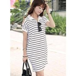 HOTPING - Cutout-Shoulder Striped Polo Shirt Dress