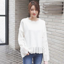 mimi&didi - Round-Neck Perforated Knit Top
