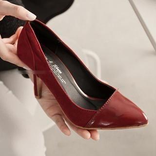 FM Shoes - Faux-Suede Panel Pointy Pumps
