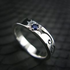 Sterlingworth - Blue Sapphire Sterling Silver Ring