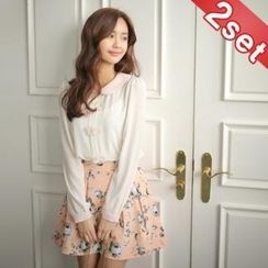Styleberry - Set: Rosette Appliqué Chiffon Top + Floral Print Skirt
