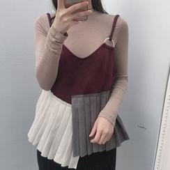 Alfie - Set: Plain Long Sleeve T-Shirt+Color-Block Pleated Camisole Top
