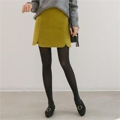 PIPPIN - Cutout-Hem Seam-Trim Wool Blend Mini Skirt