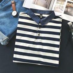 Real Boy - Striped Short-Sleeve Polo Shirt