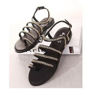 X Times - Toe-Loop Chain-Accent Sandals