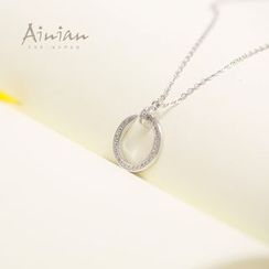AINIAN - 925 Sterling Silver Rhinestone Pendant Necklace