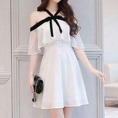 Ashlee - Open Shoulder Short-Sleeve Chiffon Dress