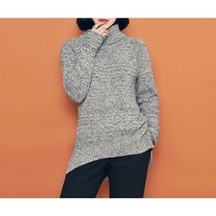 HOTPING - Turtle-Neck Mélange Knit Top