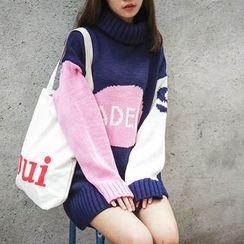 Polaris - Turtleneck Color Panel Mini Sweater