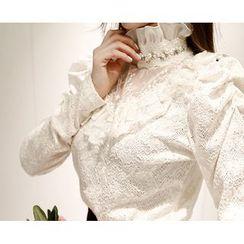 Marlangrouge - Sheer-Yoke Frilled Lace Blouse