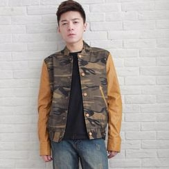 MR.ZERO - Faux-Leather Sleeve Camouflage Jacket